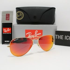 RAY-BAN 3025 112/4D POLARIZED ORANGE FLASH AVIATOR